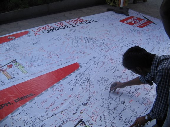 HIV graffiti wall at INOX, 20 May