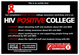 If we do a bootcamp at your college,organisation, foundation or you attend our volunteer bootcamp, you will receive this certificate, verifying that you are  'HIV positive'. If you have attended a volunteer bootcamp, you will get this certificate if you e-mail us.